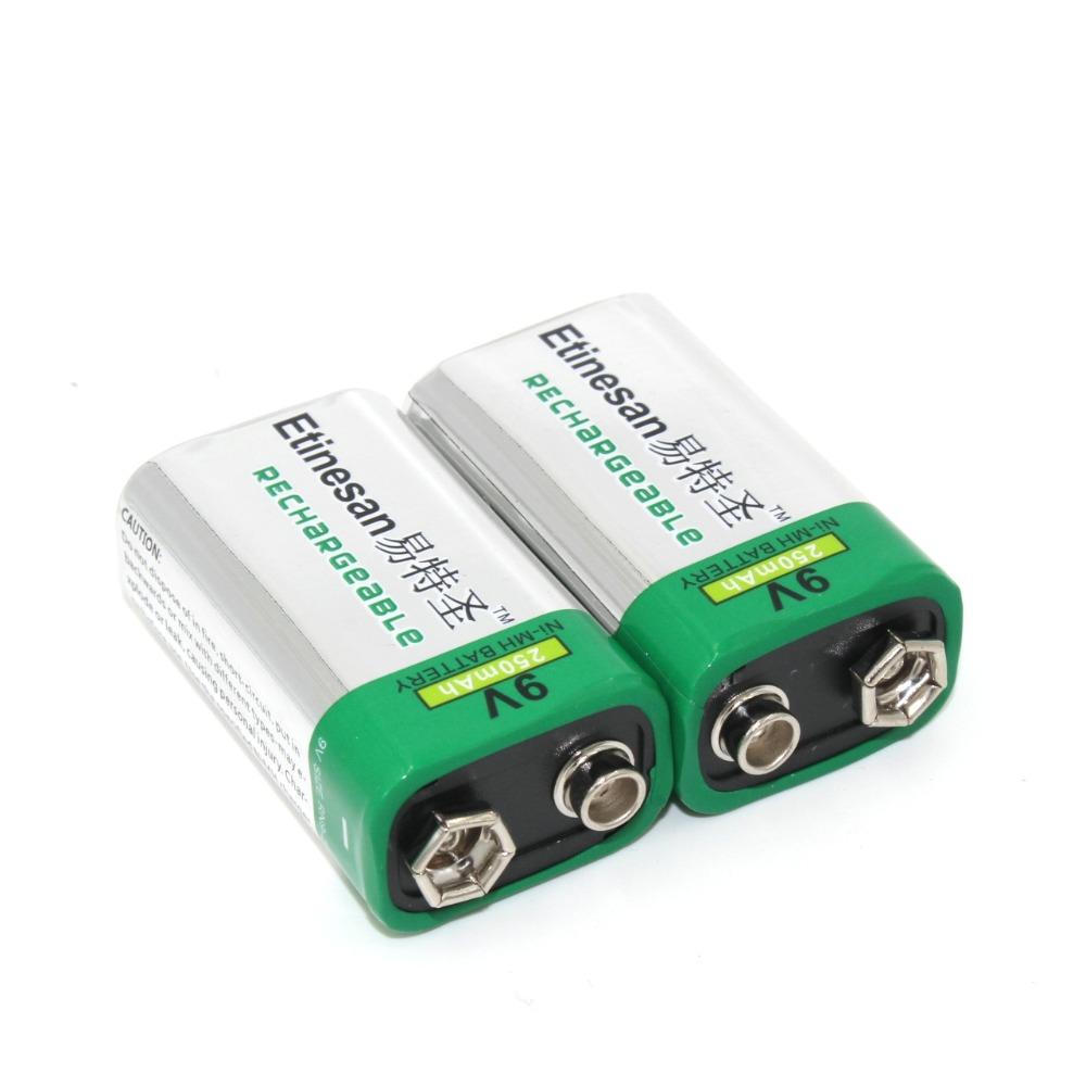 2pcs/lot Etinesan 250mah 9v nimh Rechargeable 9 Volt Batteries long lasting free ship(China (Mainland))