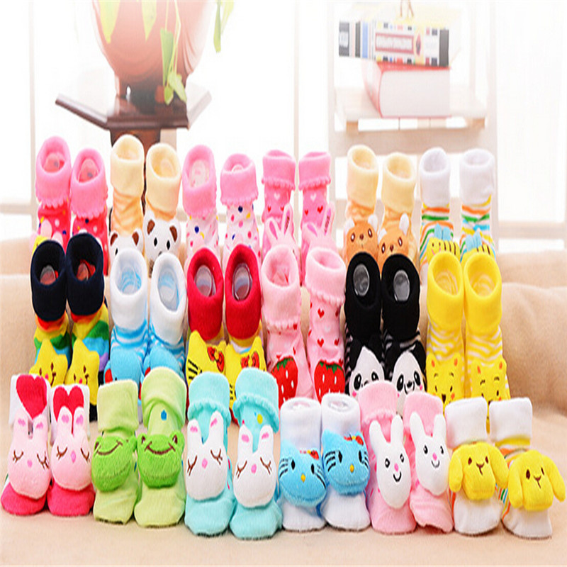 Cute 0-18 months new born Baby Cotton Shoes Socks, non slip Slipper Boots Cartoon Bunny/Star/Panda/Bear pattern 18 Styles