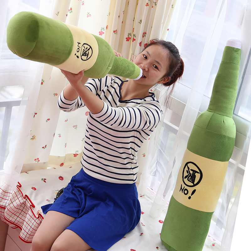 Pig beer bottle pillow plush toy cloth doll birthday gift(China (Mainland))