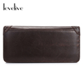 LEVELIVE Vintage Top Genuine Cow Leather Mens Long Wallet Casual Men Real Leather Wallets Male Billfold