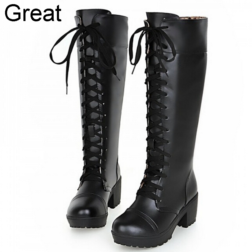 2015 Plus Big Size 33-48 Black White Lace Fashion Mid Heel Spring Autumn Winter Girl Lady Women Boots X1324 - Great Shoes store