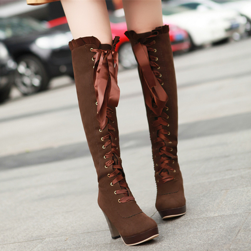 chunky heel suede womens lace up knee high boots 2015 fall