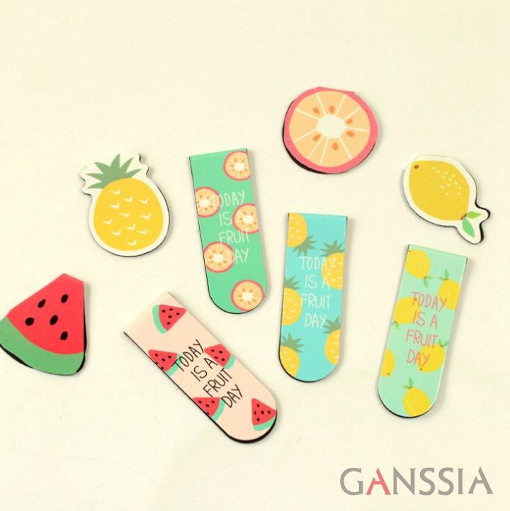 2pcs/set Fruits series magnet bookmark for books stationery zakka kawaii bookmarks material escolar school supplies(tt-2256)(China (Mainland))