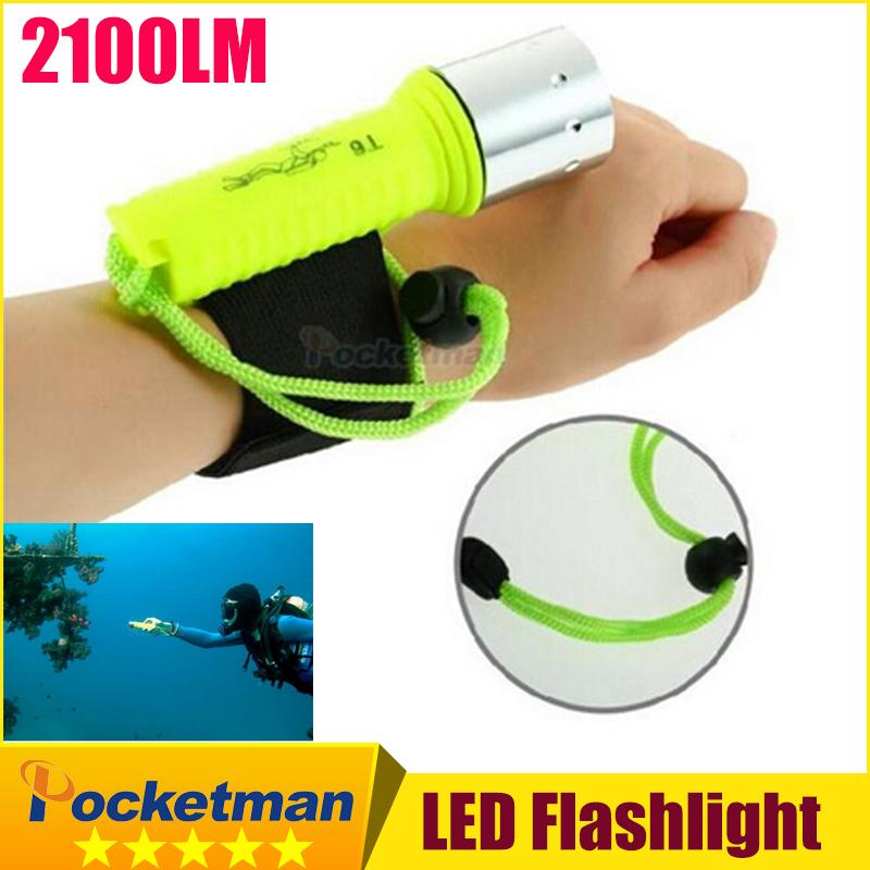 New 2100LM CREE T6 LED Waterproof underwater scuba Dive Diving Flashlight Torch light lamp for diving free shipping(China (Mainland))
