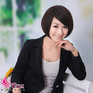 Hair beautiful girls oblique bangs short hair short hair wig women's bobo fluffy repair