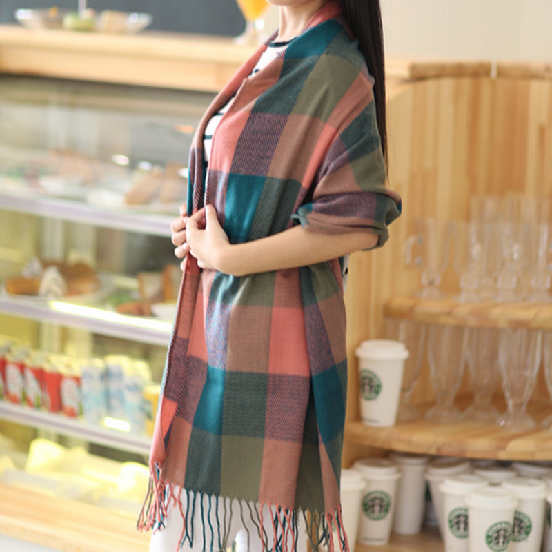 2015 Women Fashion Winter Warm Plaid Scarf Ladies Artificial Long Wrap Shawl font b Tartan b