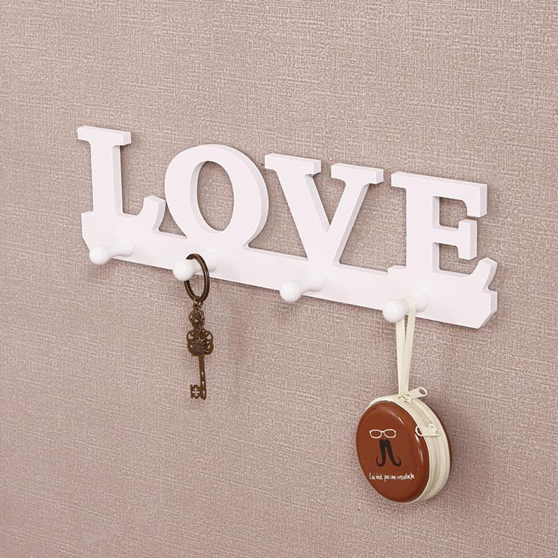 Fashion living room fashion decor love bird wall shelf white wooden wall hanger racks key - Key racks for wall ...
