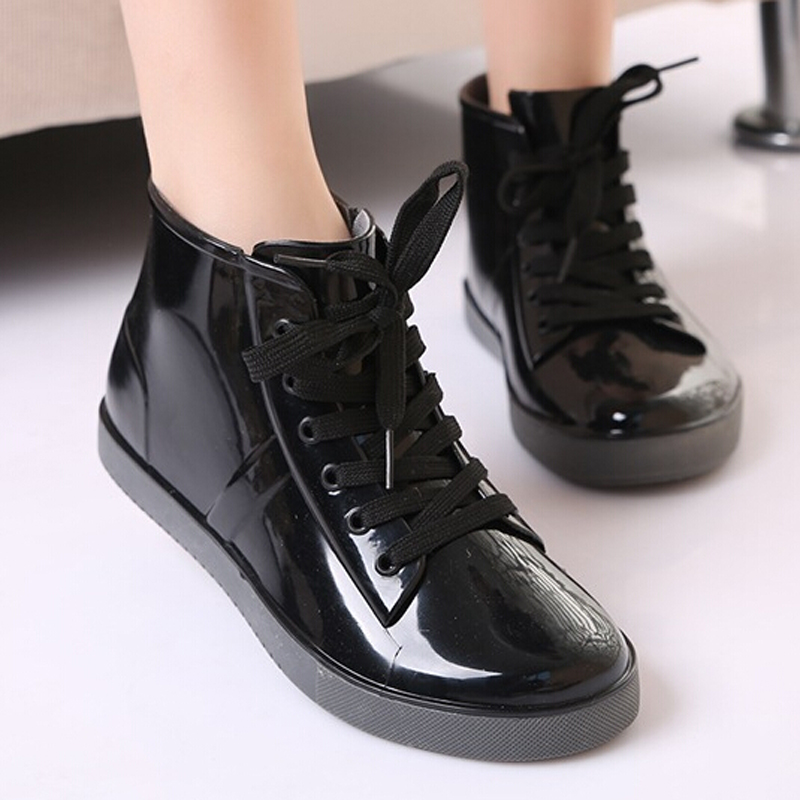 Gtime Lace Up Rain Boots Fashion Solid Ladies Flats Ankle Boots Casual Silver Women Boots Shoes