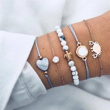 Bohemian Feather Flower Bracelet Woman New Fashion Beaded Chain Bracelet Multilayer DIY Handmade Jewelry Gift 5PCS / set(China)