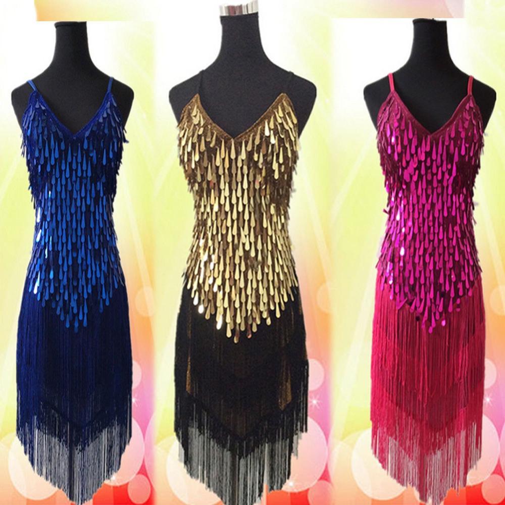 2016 newest Sexy Lady Copper Sequins Dress Ballroom Salsa Samba Rumba Latin Dancewear Dress 6Color free shippingОдежда и ак�е��уары<br><br><br>Aliexpress