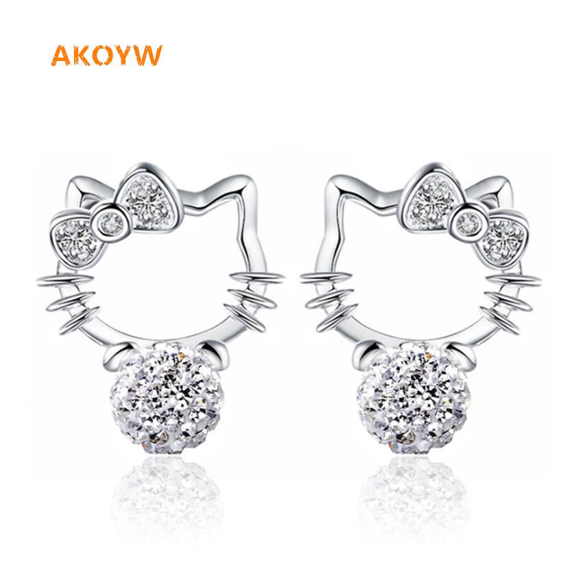Silver plated Shambhala Super Flash crystal agate stone imitation pearl earrings fashion Hello Kitty jewelry 8MM(China (Mainland))