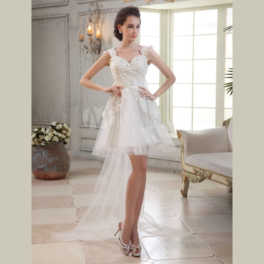 Buy 2016 elegant white organza hi lo for Buy beach wedding dress