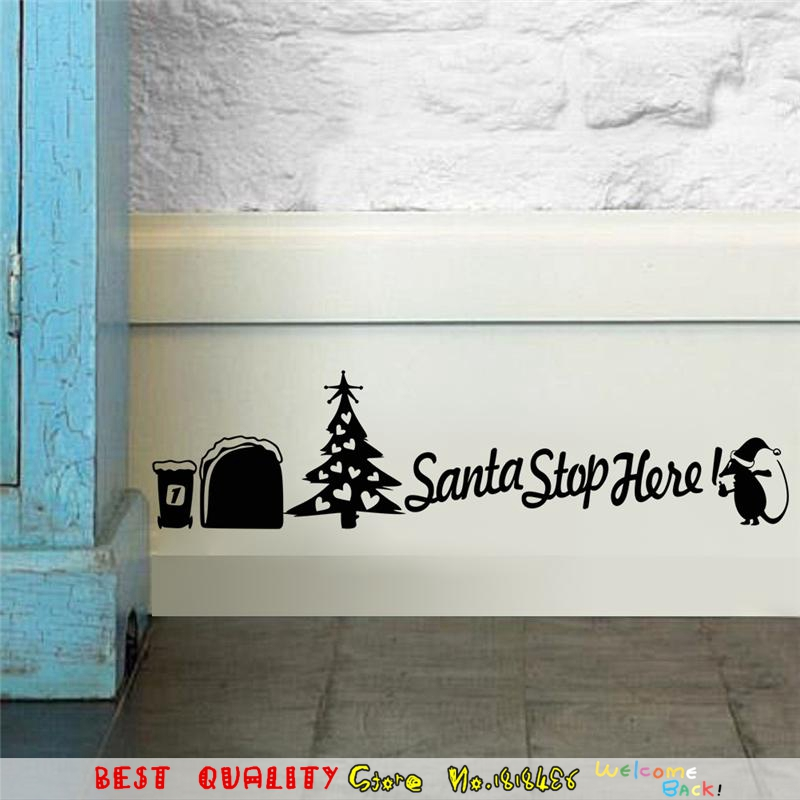 Santa Christmas Tree Wall Stickers Mouse Hole Wall Decals Room Decoration, Diy Vinyl Home Decal Animal Cartoon Mural Art Sticker(China (Mainland))