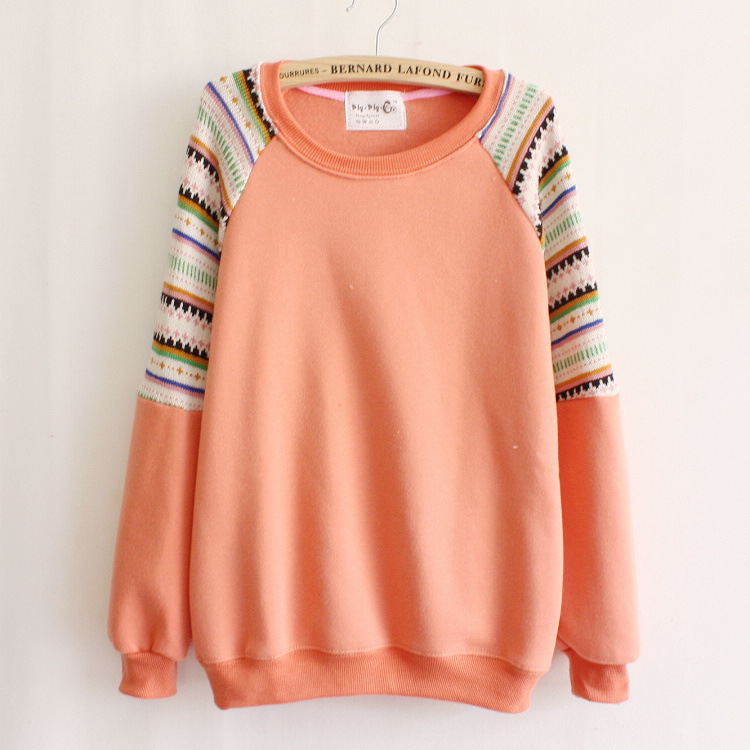 Mix color knitted embroidery sleeve high quality fleece inside winter women's hoodies warm sweatshirts 6 color free(China (Mainland))