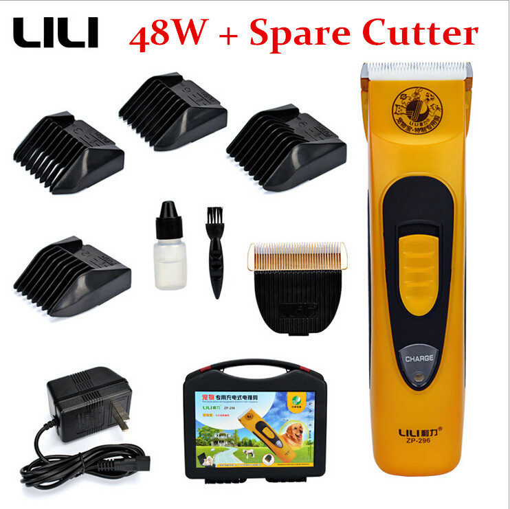Professional Pet Dog Cattle Rabbits Shaver Scissors 48W Dogs Grooming Electric Hair Clipper Cutting Machine with Spare Head Kits(China (Mainland))