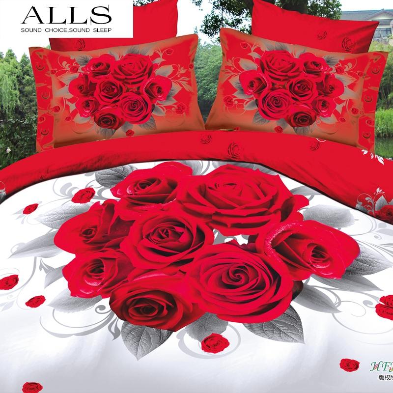 3d bedding set/quilt cover flat sheet pillow case white/red rose/wedding bed sets/no comforter/bedspread/ king size - ALLSGROUP store