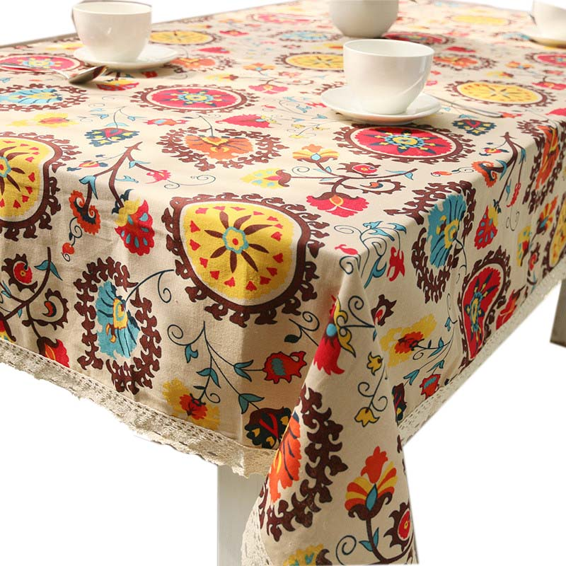 New High grade Tropical Table Cover Tablecloth Cotton Table Cover for Table Cotton and Linen Bohemia Thicken Table Cloth(China (Mainland))