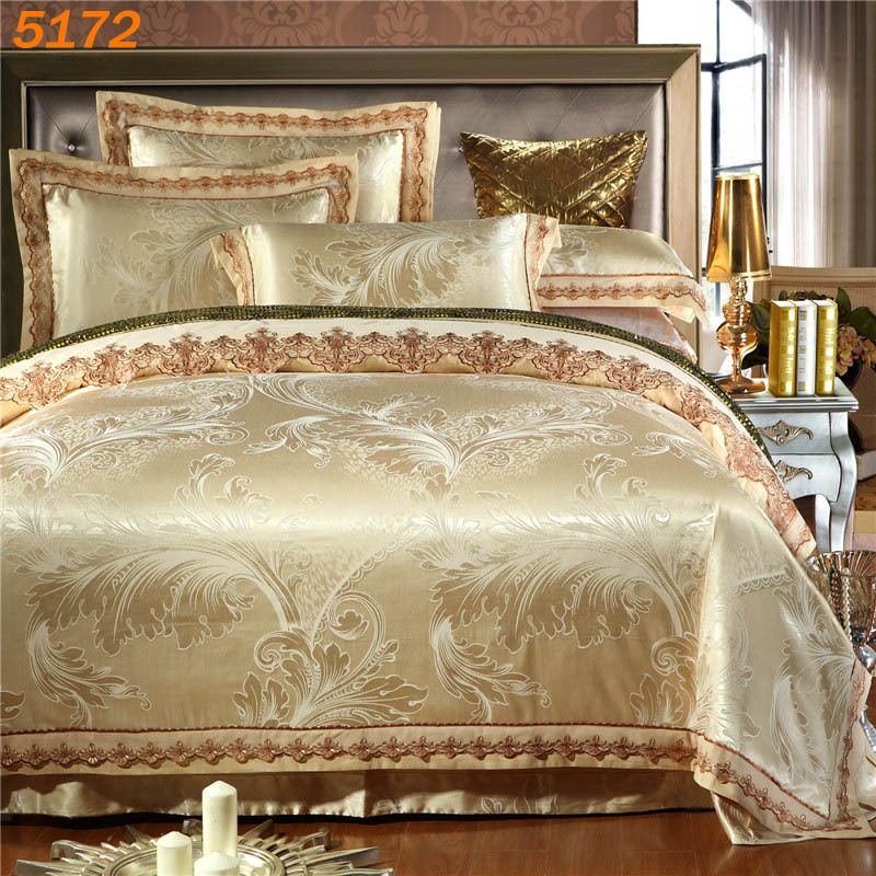 Jacquard Beige color 6pcs silk bedding sets silk 4pcs bed set embroidered tribute silk comforter cover cotton bed sheet 5172(China (Mainland))
