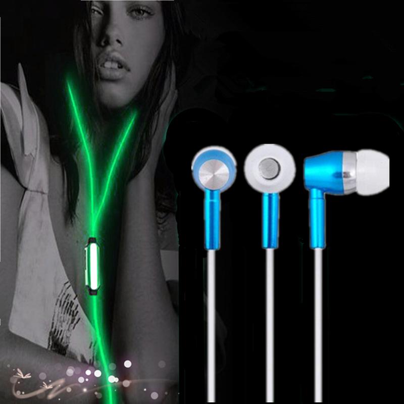 Glow in the dark earphones Metal In Ear Luminous Headphones with microphone Luminous Earphone for phone