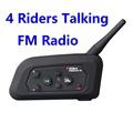 4 riders bt intercom V4 1200m motorcycle helmet bluetooth interphone headset with FM radio