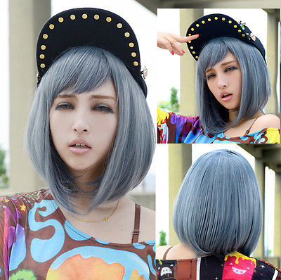 Short wigs for women Cosplay blue wig Light cool grey Straight Bob hair Full wig <br><br>Aliexpress