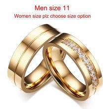 Vnox 1 Pair Wedding Rings for Women Men Couple Promise Band Stainless Steel Anniversary Engagement Jewelry Alliance Bijoux(China)
