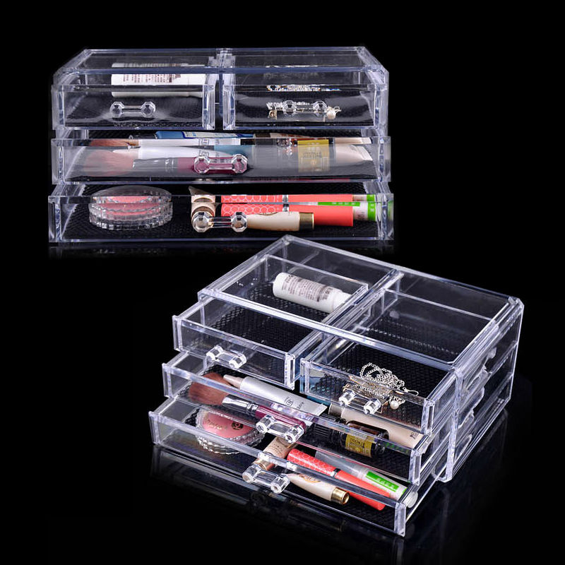 US Shipping 2pcs Acrylic Jewelry Cosmetic Drawer Organizer Storage Box For Makeup Display Rangement Maquill Color Clear moa0002(China (Mainland))
