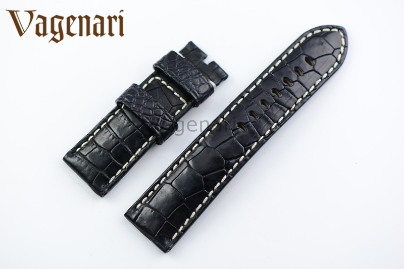 A190 Genuine Black Alligator Leather Watch Band 24mm/22mm Watch Strap for PAM