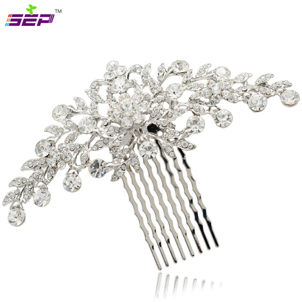 Clear Rhinestone Crystals Wedding Bride Bridal Floral Hair Comb Head Pieces Hair Pins Jewelry Accessories COFA2944(China (Mainland))