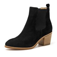 BeauToday kadın Chelsea çizmeler hakiki deri İnek süet sivri burun ayak bileği uzunluğu yüksek topuk bayan ayakkabıları el yapımı 03341(China)