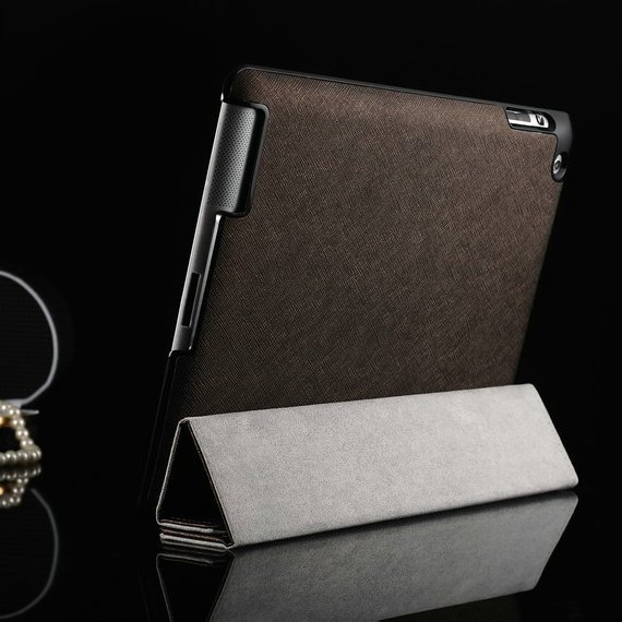 Original GSOURCE Smart case for ipad 3 2  Magnetic Leather Case for ipad 3 Cross pattern Leather stand case for ipad 4