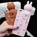 Women Stereo Line 3D Animal Cartoon Brown Bear Rabbit Soft Silicone Phone Case For iPhone 7