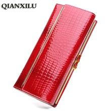 Ladies Women Wallets Genuine Leather Purses Long Wallet Women Elegant Female Red Women's Wallets Woman Leather Wallet Purse