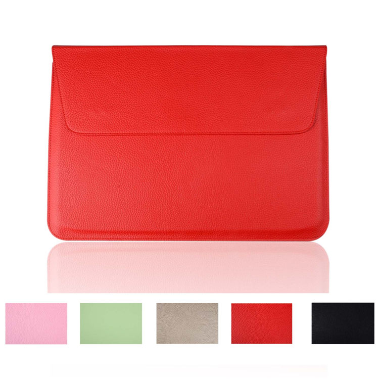 Luxury Litchi Surface Pu Leather Sleeve Bag For Apple