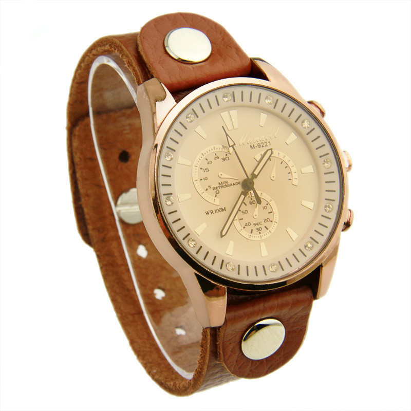 Promotion Vintage Quartz Watches with Leather Strap For Women Dress Wristwatch Free Shipping PI0535(China (Mainland))
