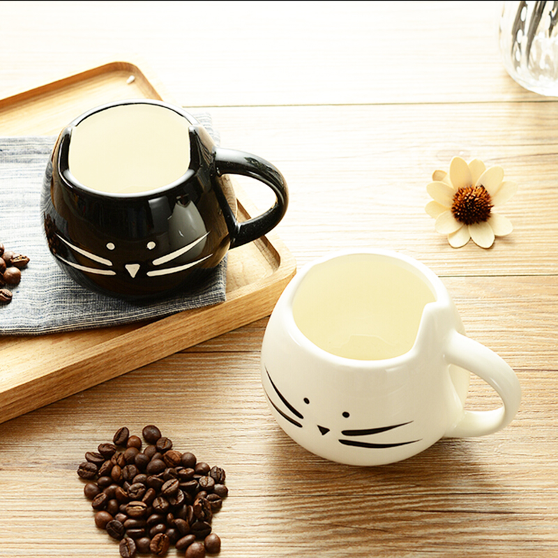 1PCS Cute Chite Black Cat Cartoon Mug Milk Ceramic Creative juice Coffee Porcelain Tea Cup Hot Selling Birthday Best Gift(China (Mainland))