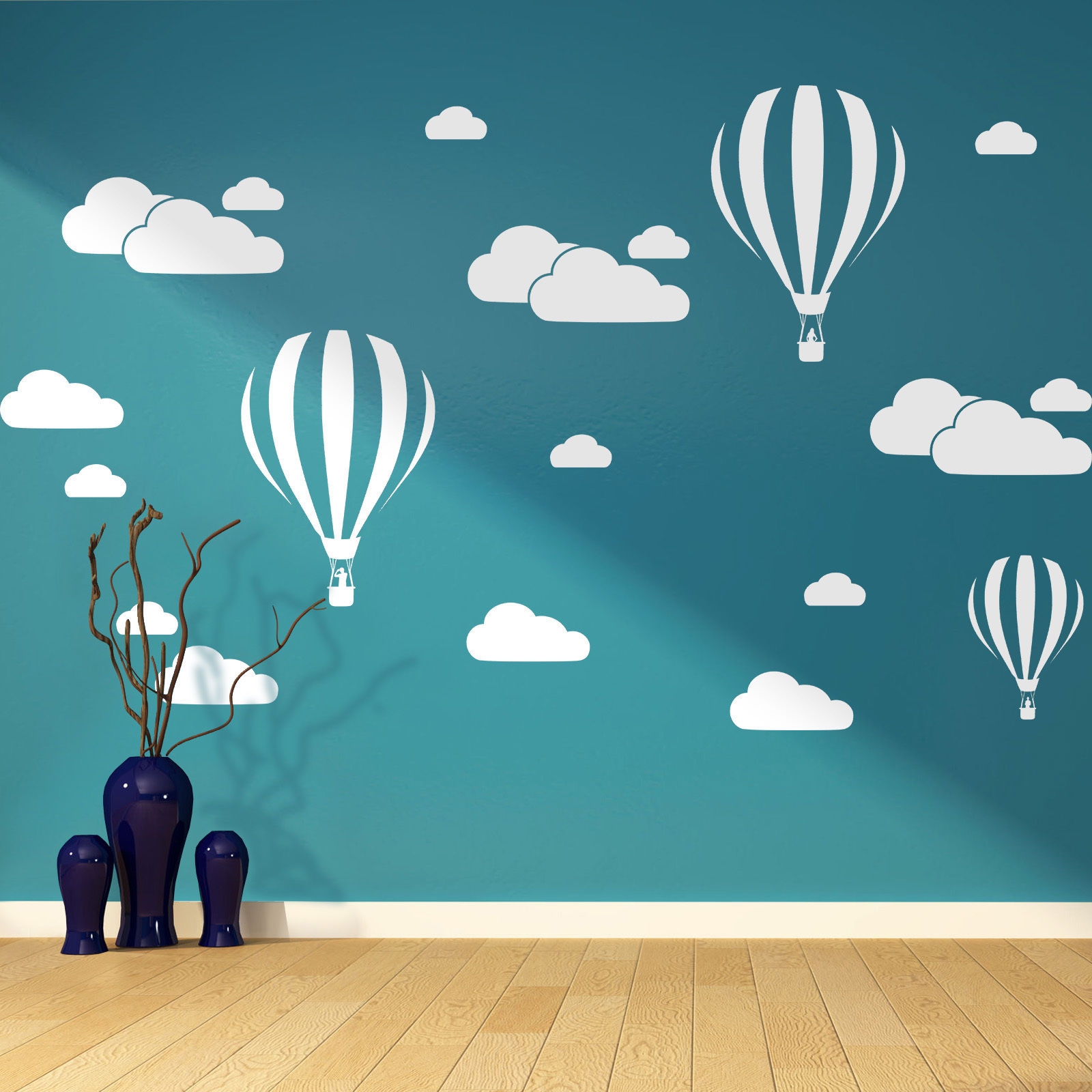 Clouds &Hot Air Balloons Nursery Kids Childs Room Vinyl Wall Art Sticker Decal free shipping(China (Mainland))