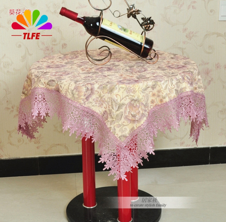 High quality multi-purpose square rectangle round lace tablecloth Europe classical printed Floral lace side tablecloth ZB177(China (Mainland))