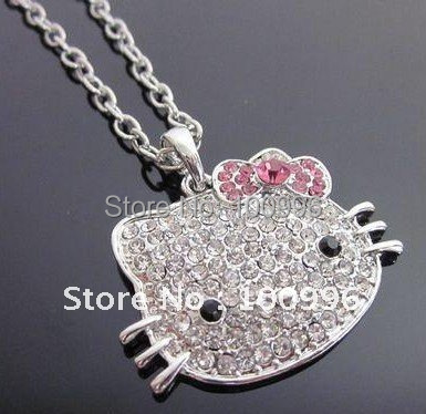Free Shipping Hello Kitty Pendant Crystal Rhinestone 13/4'' Hello Kitty Necklace in Pink Bow Silver Stone For Women Fine Jewelry(China (Mainland))