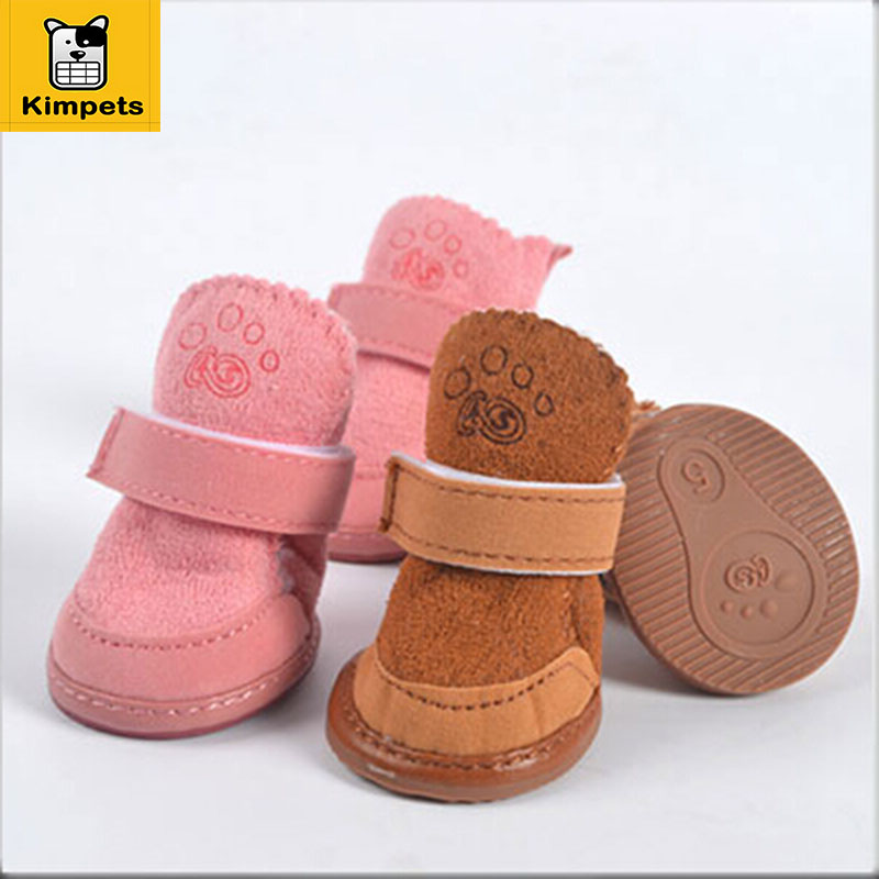 4pcs/set Non-slip Shoes Dog Cotton Shoes Waterproof Warm Winter Dog Shoes Teddy Pet Thick Soft Bottom Snow Boots for Small Dog(China (Mainland))