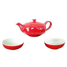 Red Pigmented Chinese Teapot Set Ceramic Tea Pot and Cup Bone China Porcelain Tea Set Free Shipping