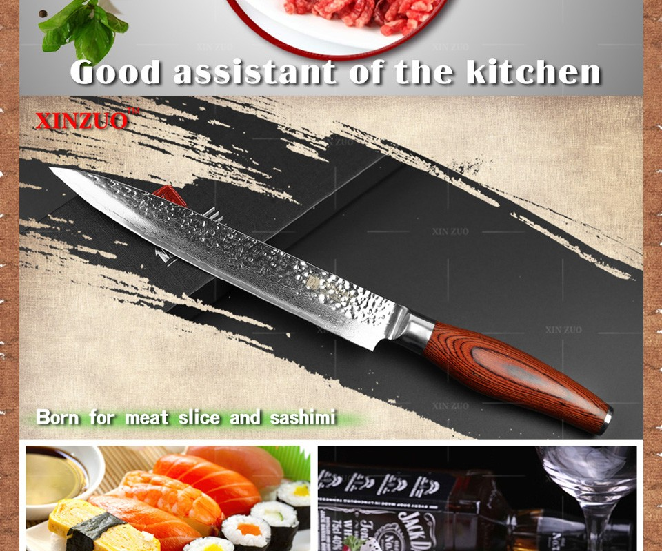 "Buy XINZUO 73 layers 8"" cleaver knife Japan Damascus steel kitchen knife meat Sashimi knife with Color wood handle free shipping cheap"