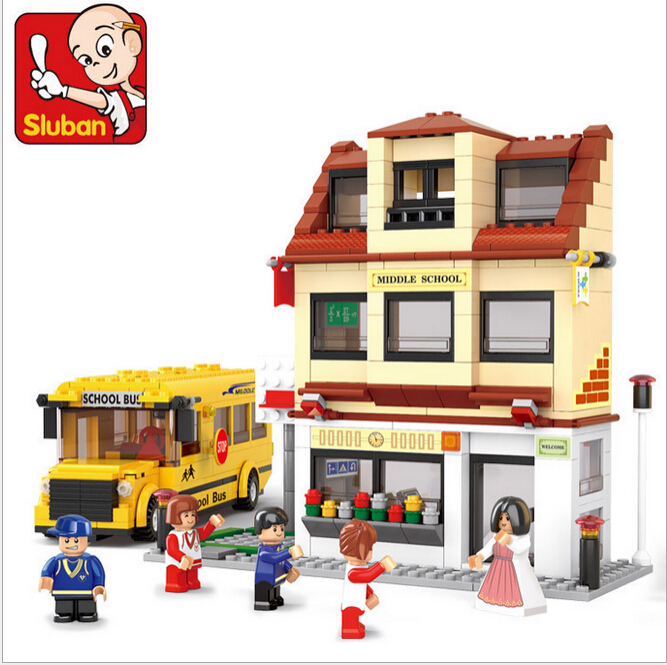 SLUBAN 496Pcs City Middle School Bus Teacher Students Minifigures Building Block Kids Educational Toys Compatible with legodt(China (Mainland))