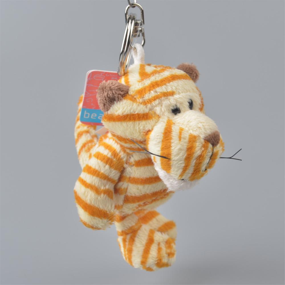 5 Pcs Yellow Stripe Tiger Pendant Stuffed Plush Keyring, Key holder / Keychain Gift Free Shipping(China (Mainland))