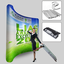 10ft portable curved tension fabric trade show display exhibition pop up stand banner booth exhibits custom graphic printing(China (Mainland))