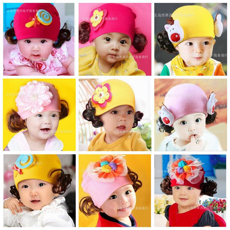 Hot Cute Baby Beanie Hats For Girls Beautiful Charming Flower Soft Cotton Hats Girls Spring Autumn Hats Children's Cap 20Colors(China (Mainland))