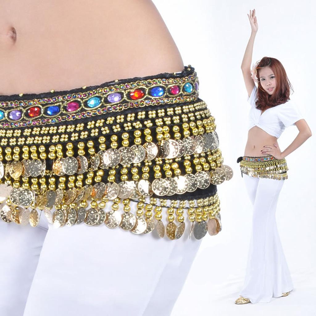 Gold Coins Women Belt Belly Dance Scarf Hip Belly Dance Accessories Sequins Tassel Wrap Costume Belt Shawl Chiffon Fringe Scarf