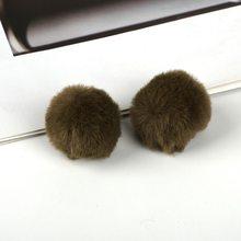 4 cm PomPom DIY Chaveiro Material da Pele Do Falso Coelho Saco Bulbo Capilar Bola pom pom chave Pingente cadeia poret clef para DIY(China)