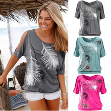 2016 Summer New all-match Large Size Women's Feather Print T-shirt Models Strapless Loose Short-Sleeved Shirt(China (Mainland))