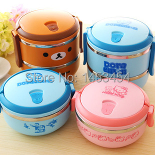 One level 0.7L Hello Kitty Doraemon Stainless Steel Children Lunch Box Keep Warm Food Container carton bear Metal Bowls thermos(China (Mainland))